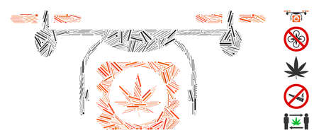Hatch Mosaic based on drugs drone shipment icon. Mosaic vector drugs drone shipment is formed with random hatch elements. Bonus icons are added.
