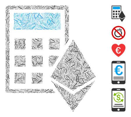 Hatch Mosaic based on Ethereum calculator icon. Mosaic vector Ethereum calculator is designed with randomized hatch elements. Bonus icons are added.