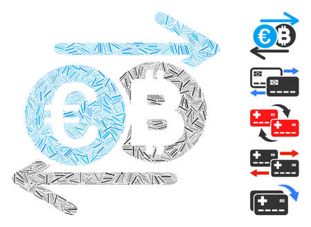 Dash Mosaic based on Euro Bitcoin change icon. Mosaic vector Euro Bitcoin change is formed with random dash spots. Bonus icons are added.