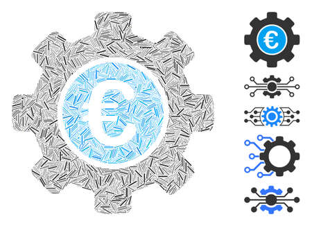 Dash Mosaic based on Euro development gear icon. Mosaic vector Euro development gear is created with scattered dash items. Bonus icons are added.