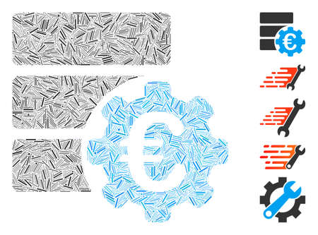 Line Mosaic based on Euro financial database options icon. Mosaic vector Euro financial database options is created with random line dots. Bonus icons are added.
