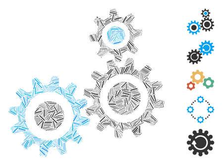 Hatch Mosaic based on gear mechanism icon. Mosaic vector gear mechanism is created with random hatch items. Bonus icons are added. Illusztráció