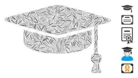Hatch Mosaic based on graduation cap icon. Mosaic vector graduation cap is designed with randomized line elements. Bonus icons are added. Vektorgrafik