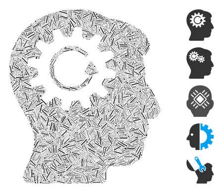 Hatch Mosaic based on head gear rotation icon. Mosaic vector head gear rotation is formed with random line items. Bonus icons are added.