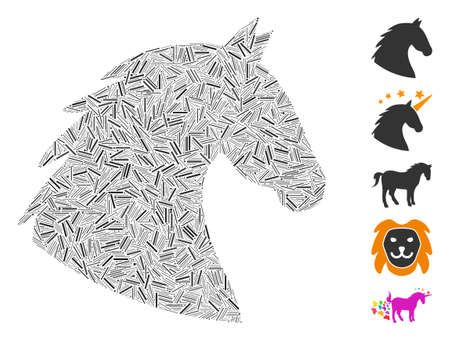 Dash Collage based on horse head icon. Mosaic vector horse head is designed with randomized dash items. Bonus icons are added.