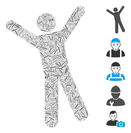 Line Mosaic based on man joy icon. Mosaic vector man joy is composed with scattered line elements. Bonus icons are added. Ilustração Vetorial