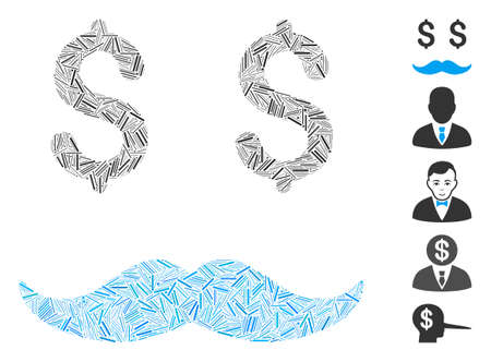 Line Mosaic based on millionaire mustache icon. Mosaic vector millionaire mustache is composed with scattered line dots. Bonus icons are added.