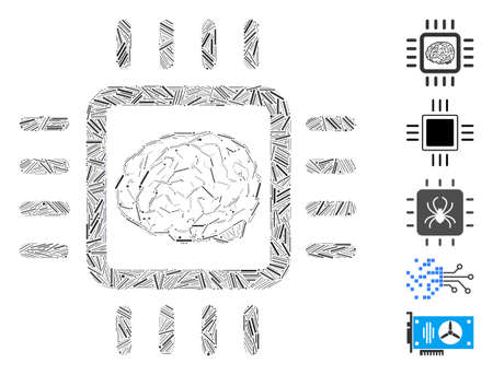 Hatch Mosaic based on neural chip icon. Mosaic vector neural chip is formed with random hatch spots. Bonus icons are added. Illustration