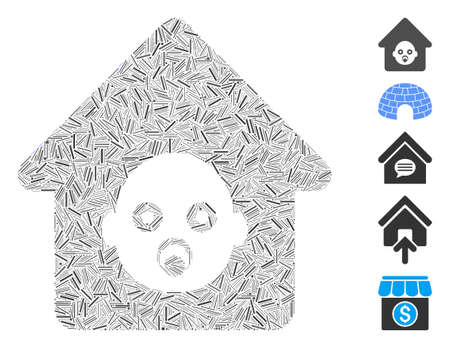 Line Mosaic based on nursery house icon. Mosaic vector nursery house is formed with random line elements. Bonus icons are added. Stock Illustratie