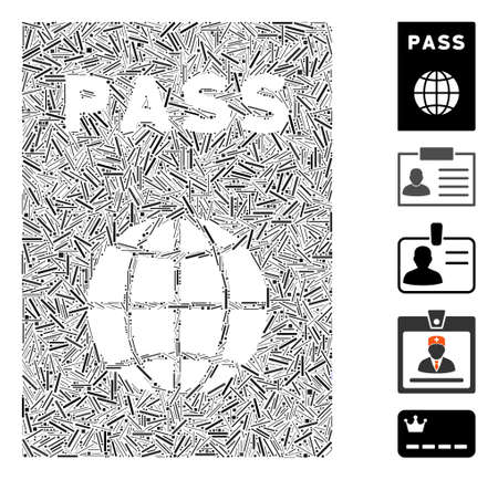 Line Collage based on passport icon. Mosaic vector passport is created with scattered line dots. Bonus icons are added. Foto de archivo - 142616217