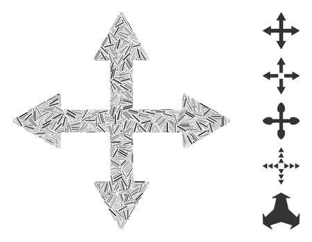Dash Mosaic based on quadro arrows icon. Mosaic vector quadro arrows is designed with randomized dash spots. Bonus icons are added. Illustration