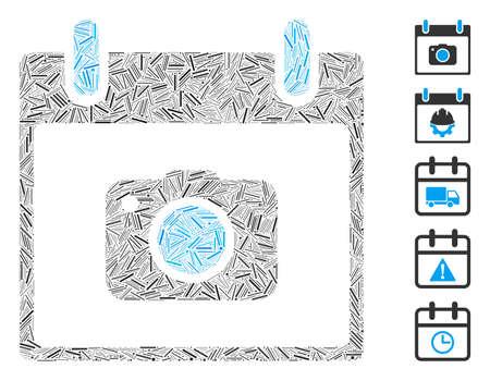 Hatch Mosaic based on photo camera calendar day icon. Mosaic vector photo camera calendar day is formed with randomized hatch spots. Bonus icons are added. Ilustración de vector