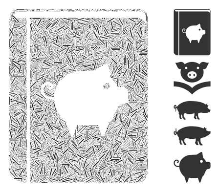 Line Mosaic based on pig handbook icon. Mosaic vector pig handbook is created with scattered line dots. Bonus icons are added.