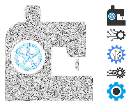Hatch Mosaic based on sewing machine icon. Mosaic vector sewing machine is composed with random hatch elements. Bonus icons are added. Stock Illustratie