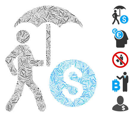 Hatch Collage based on walking banker with umbrella icon. Mosaic vector walking banker with umbrella is designed with random hatch spots. Bonus icons are added.