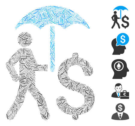Dash Mosaic based on walking businessman with umbrella icon. Mosaic vector walking businessman with umbrella is formed with randomized dash spots. Bonus icons are added.