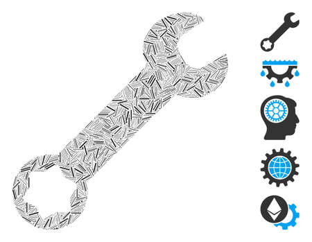 Line Mosaic based on wrench icon. Mosaic vector wrench is composed with randomized line items. Bonus icons are added.