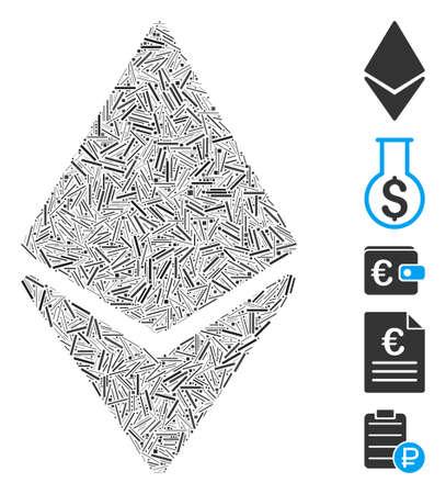Line Mosaic based on Ethereum icon. Mosaic vector Ethereum is designed with random line elements. Bonus icons are added. Ilustracja
