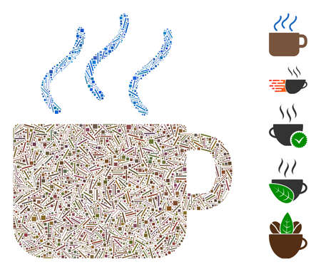 Dash Mosaic based on coffee icon. Mosaic vector coffee is formed with randomized dash elements. Bonus icons are added.