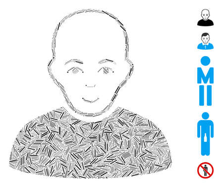 Hatch Mosaic based on bald man icon. Mosaic vector bald man is designed with randomized hatch dots. Bonus icons are added.