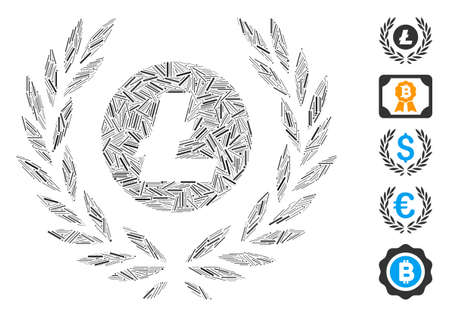 Line Mosaic based on Litecoin coin laurel wreath icon. Mosaic vector Litecoin coin laurel wreath is formed with random line spots. Bonus icons are added.