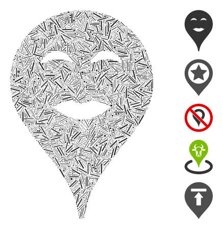 Dash Mosaic based on lady pleasure smiley map marker icon. Mosaic vector lady pleasure smiley map marker is formed with random dash dots. Bonus icons are added. Vetores