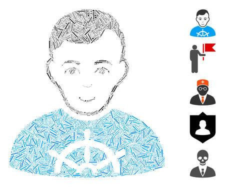 Dash Mosaic based on captain icon. Mosaic vector captain is created with randomized line items. Bonus icons are added. Çizim