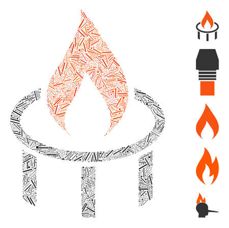 Hatch Mosaic based on burner nozzle flame icon. Mosaic vector burner nozzle flame is formed with random hatch elements. Bonus icons are added.