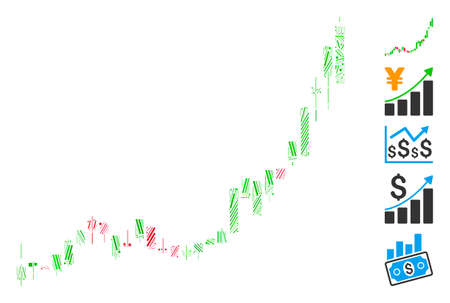 Line Mosaic based on candlestick chart growth acceleration icon. Mosaic vector candlestick chart growth acceleration is created with random line items. Bonus icons are added.