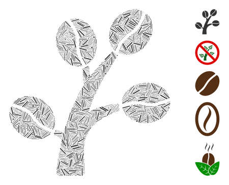 Dash Collage based on coffee tree icon. Mosaic vector coffee tree is created with scattered dash dots. Bonus icons are added.  イラスト・ベクター素材