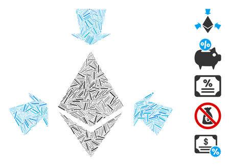 Dash Mosaic based on Ethereum collect arrows icon. Mosaic vector Ethereum collect arrows is created with random dash elements. Bonus icons are added. Ilustracja