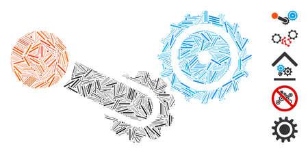 Dash Mosaic based on engine icon. Mosaic vector engine is designed with randomized line spots. Bonus icons are added. 矢量图片