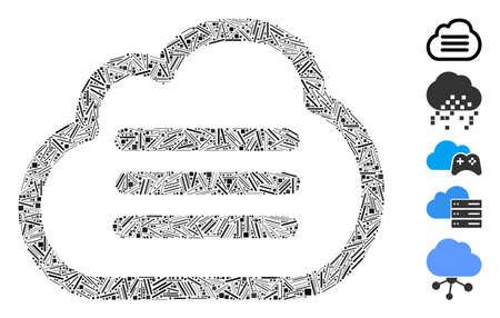 Line Mosaic based on cloud file icon. Mosaic vector cloud file is designed with scattered line dots. Bonus icons are added. Иллюстрация