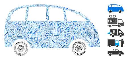 Dash Mosaic based on minibus icon. Mosaic vector minibus is composed with randomized line items. Bonus icons are added.