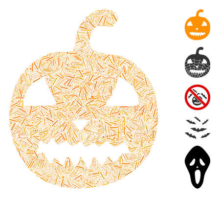 Line Mosaic based on halloween pumpkin icon. Mosaic vector halloween pumpkin is created with randomized line elements. Bonus icons are added.