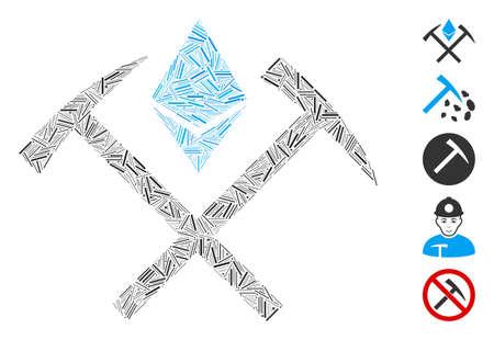 Line Mosaic based on Ethereum mining hammers icon. Mosaic vector Ethereum mining hammers is designed with randomized line elements. Bonus icons are added.
