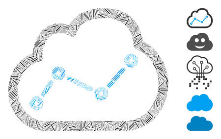 Line Mosaic based on chart cloud icon. Mosaic vector chart cloud is designed with random line spots. Bonus icons are added. Vektorové ilustrace