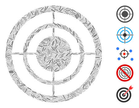 Hatch Mosaic based on circular target icon. Mosaic vector circular target is formed with scattered hatch spots. Bonus icons are added.