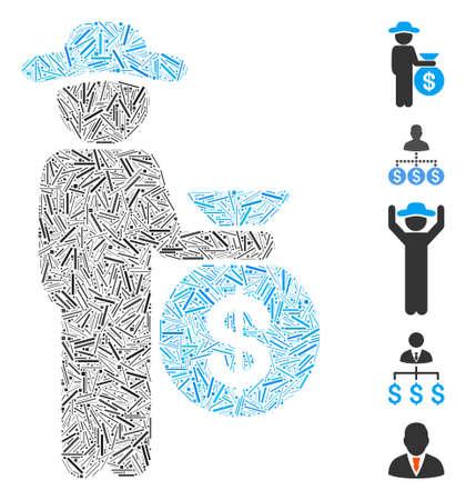 Line Mosaic based on gentleman investor icon. Mosaic vector gentleman investor is formed with random line dots. Bonus icons are added. Ilustração