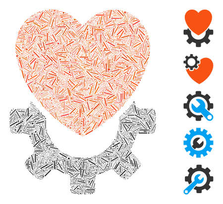 Line Mosaic based on mechanical heart icon. Mosaic vector mechanical heart is composed with randomized line dots. Bonus icons are added.