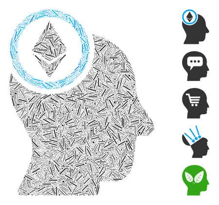 Line Mosaic based on Ethereum mind head icon. Mosaic vector Ethereum mind head is composed with scattered line spots. Bonus icons are added. 向量圖像