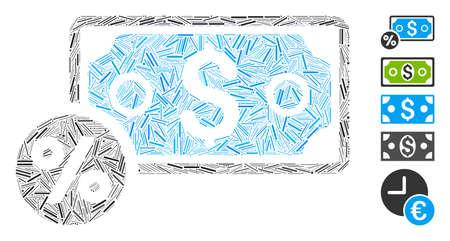 Dash Mosaic based on banknote percent icon. Mosaic vector banknote percent is composed with scattered dash items. Bonus icons are added. Illustration
