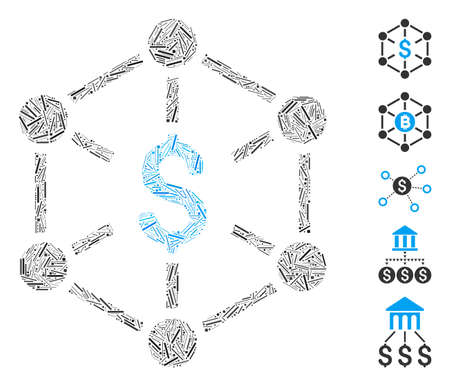 Hatch Mosaic based on financial network icon. Mosaic vector financial network is designed with scattered hatch dots. Bonus icons are added. 일러스트