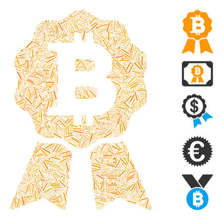 Dash Mosaic based on Bitcoin certificate seal icon. Mosaic vector Bitcoin certificate seal is created with random dash dots. Bonus icons are added. 일러스트