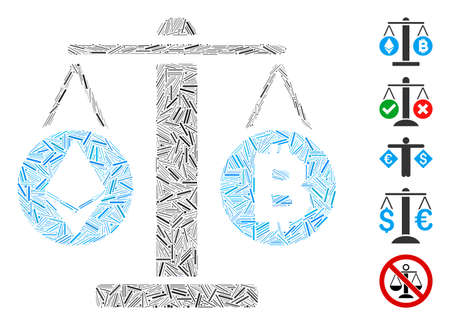 Dash Mosaic based on cryptocurrency weight icon. Mosaic vector cryptocurrency weight is composed with randomized dash items. Bonus icons are added.