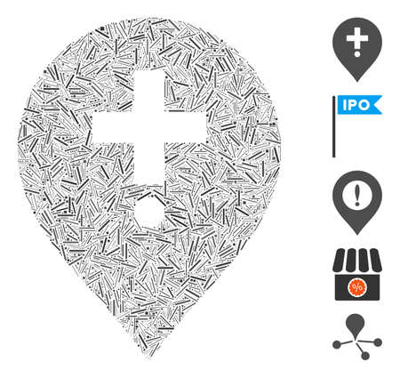 Hatch Mosaic based on drugstore marker icon. Mosaic vector drugstore marker is designed with scattered hatch dots. Bonus icons are added.