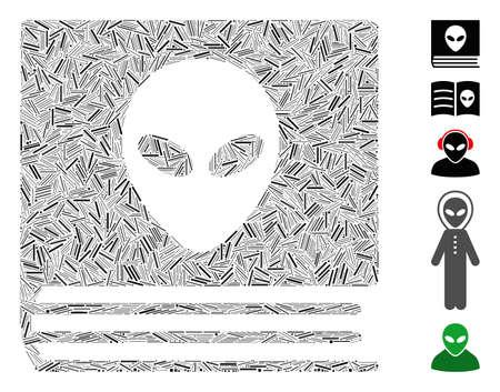 Dash Mosaic based on alien catalog icon. Mosaic vector alien catalog is created with random dash elements. Bonus icons are added.