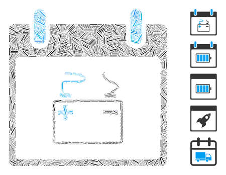 Dash Collage based on accumulator calendar day icon. Mosaic vector accumulator calendar day is designed with randomized dash dots. Bonus icons are added.  イラスト・ベクター素材