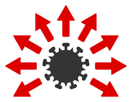 Vector virus distribution flat icon. Vector pictogram style is a flat symbol virus distribution icon on a white background. 向量圖像