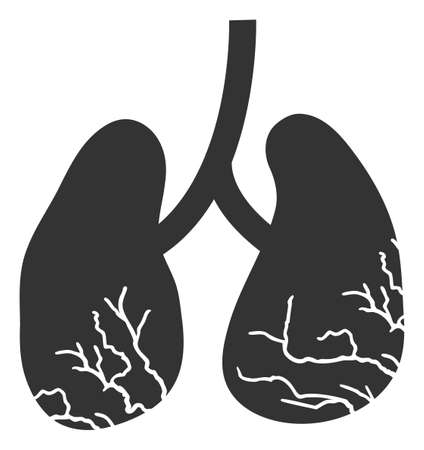 Vector lung cancer flat icon. Vector pictograph style is a flat symbol lung cancer icon on a white background.